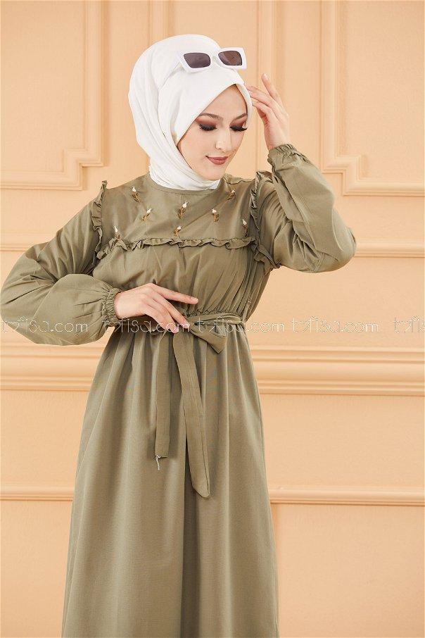 فستان لون زيتي 3674