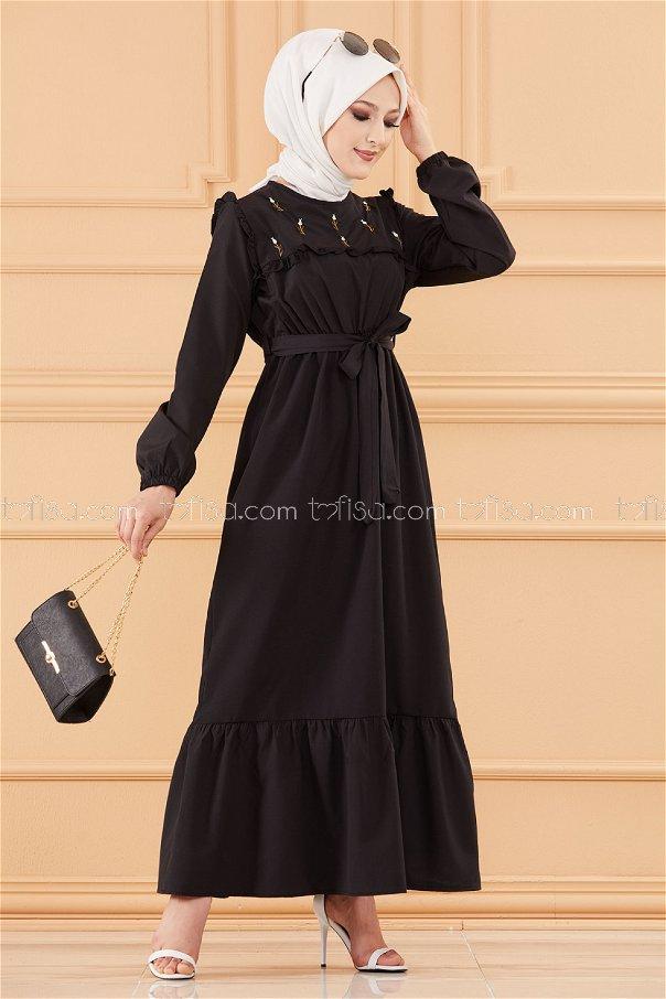 فستان لون اسود 3674