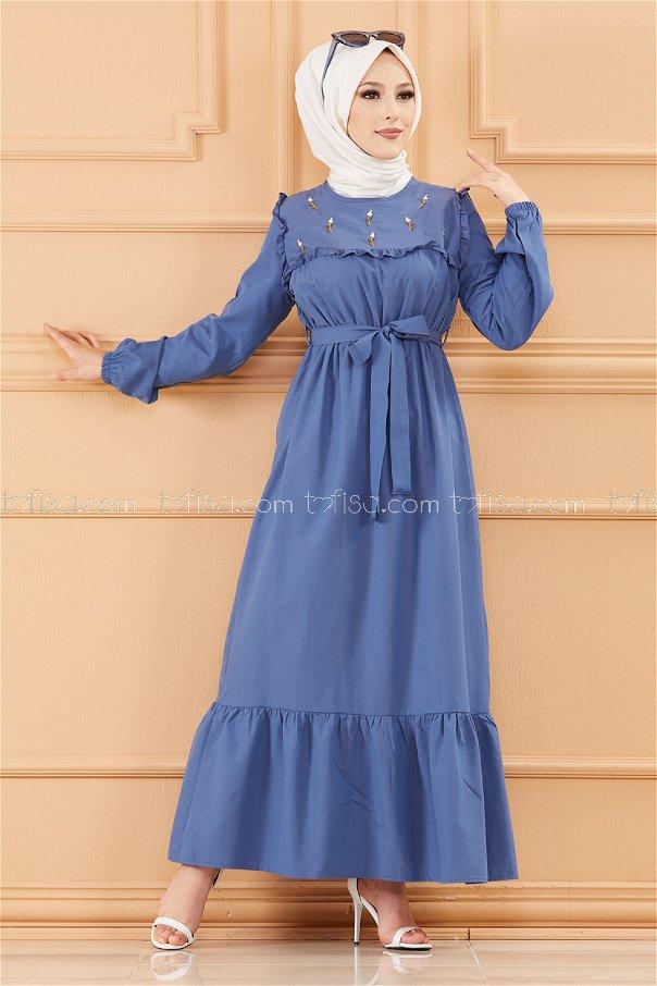 فستان لون ازرق داكن 3674