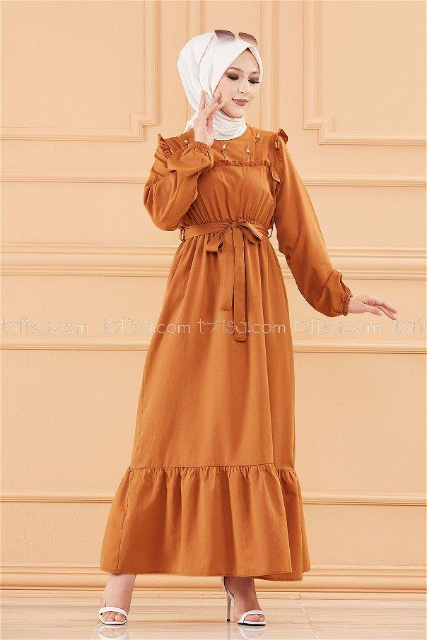 فستان لون بني 3674
