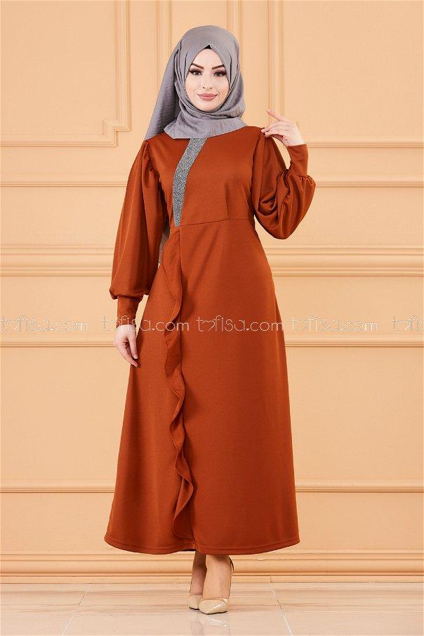 فستان لون قرميد 3675