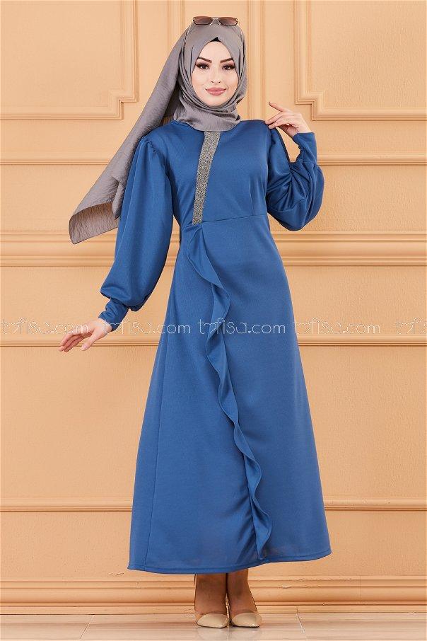 فستان لون ازرق داكن 3675