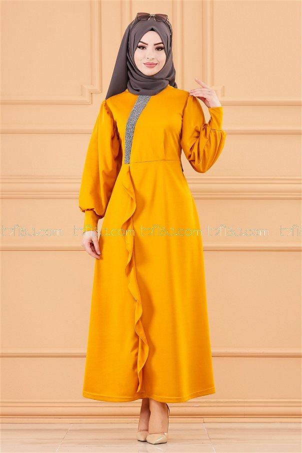 فستان لون خردل 3675