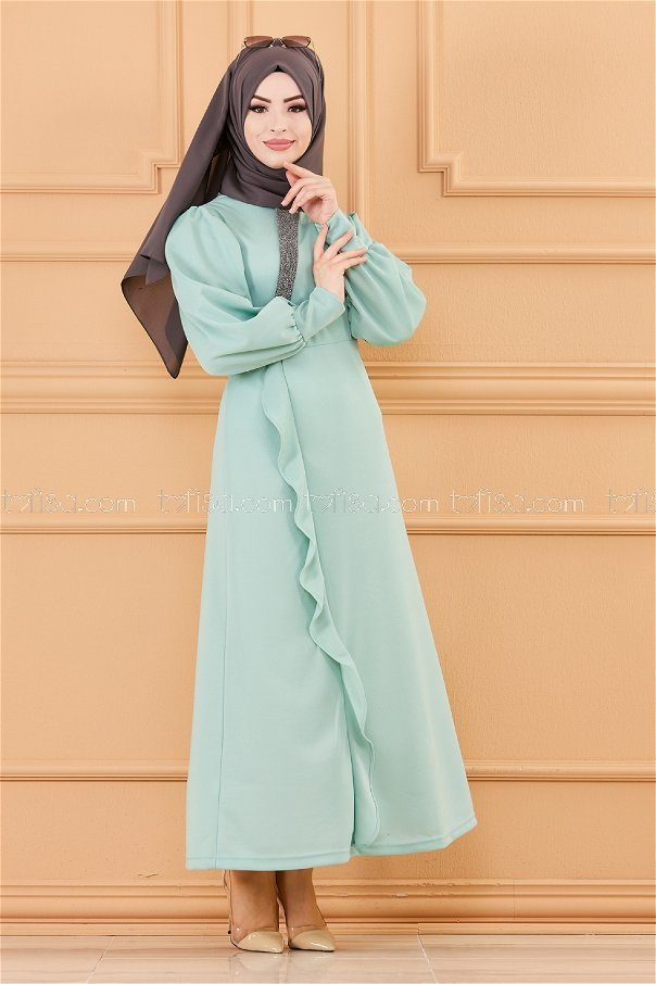 فستان لون ازرق فاتح 3675