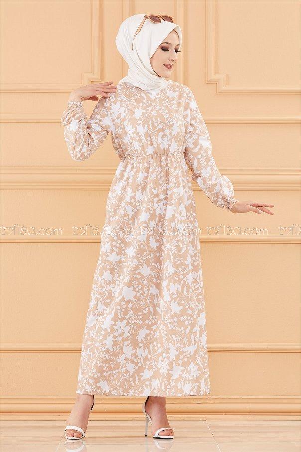 فستان لون بيج فاتح 3714