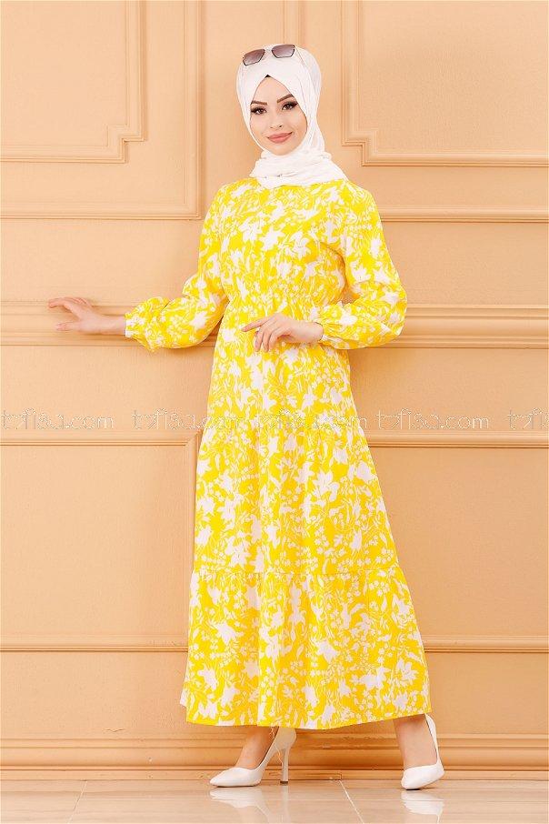 فستان لون اصفر 3715