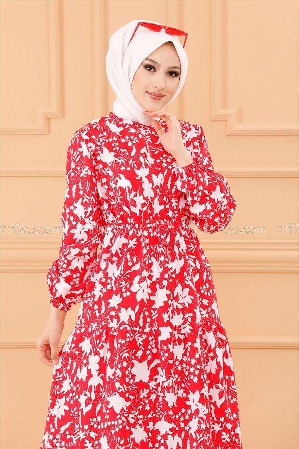 فستان لون احمر 3715