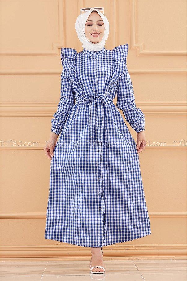 فستان لون ازرق 3718