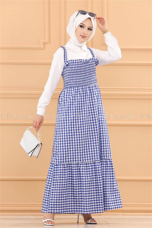 فستان لب حزام لون ازرق 3727