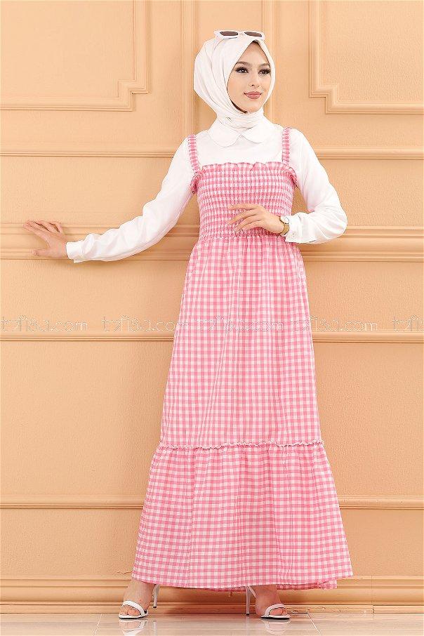 فستان ب حزام لون زهري فاتح 3727