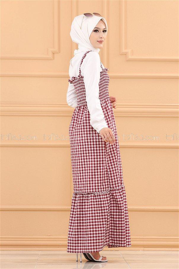 فستان لون ب حزام لون خمري 3727