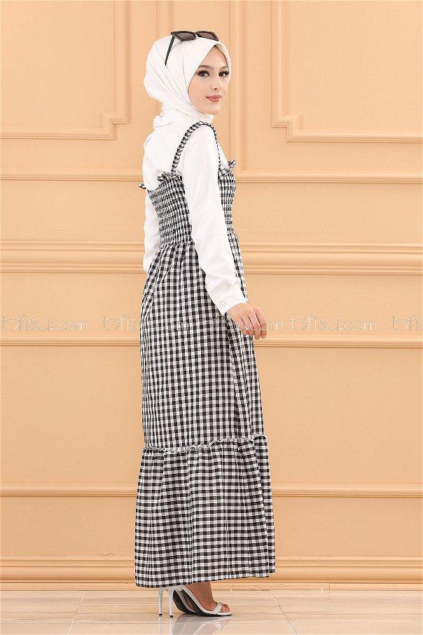 فستان ب حزام لون اسود 3727