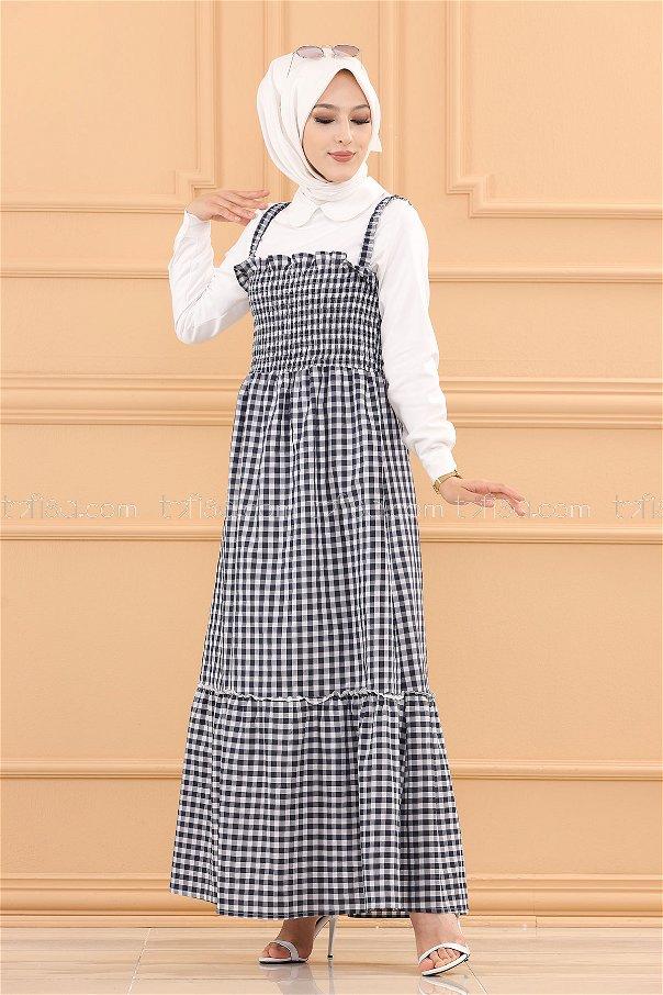 فستان ب حزام لون كحلي 3727