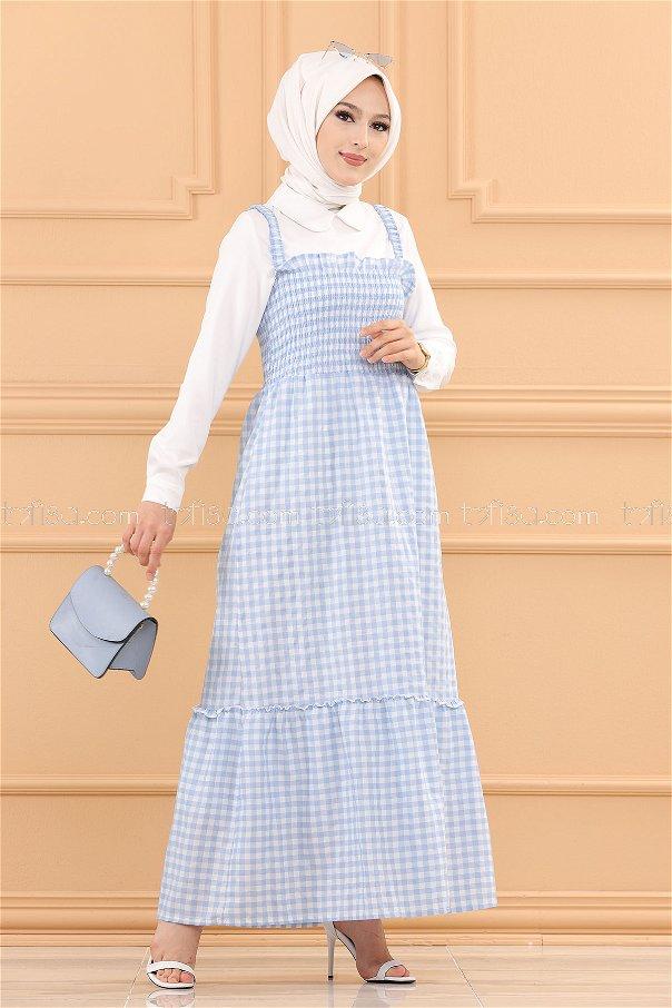 فستان ب حزام لون ازرق فاتح 3727
