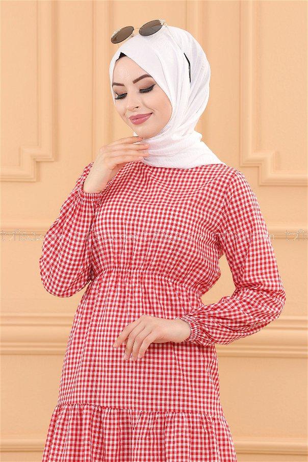 فستان لون احمر 3731