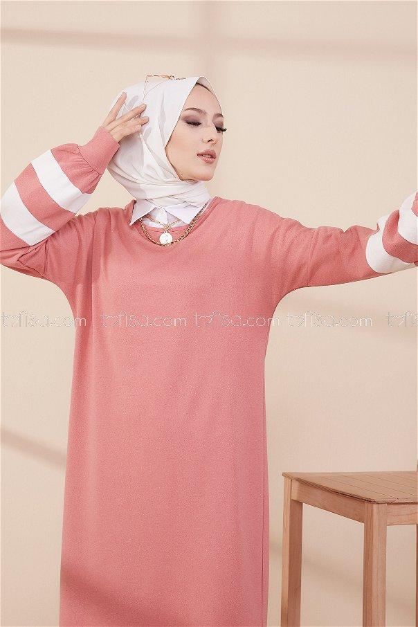 فستان لون وردي 4134