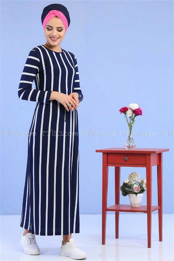 فستان مقلم ازرق داكن - 02 5100