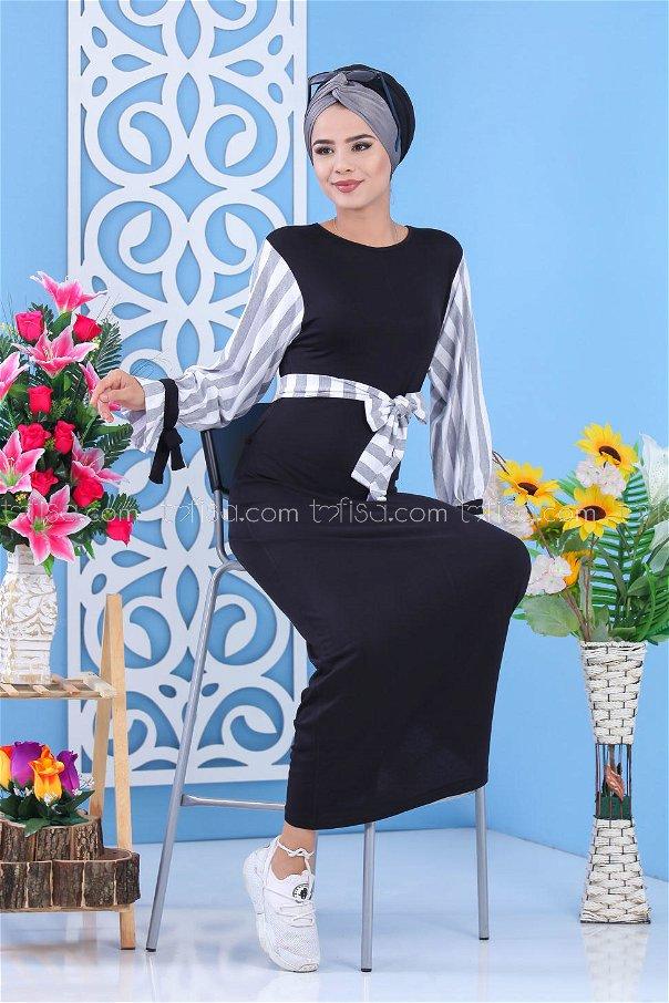 فستان رصاصي اسود - 03 5140
