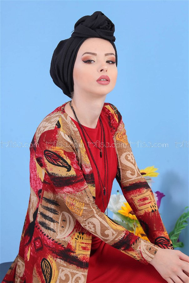 طقم قطعتين ** سترة + فستان لون خمري - 5148 02