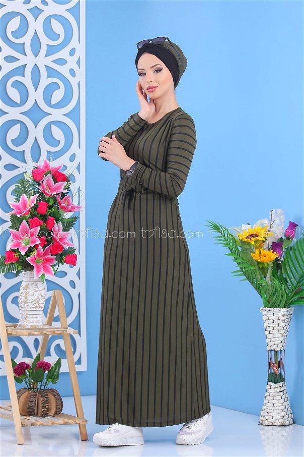 فستان مقلم زيتي - 5151 03