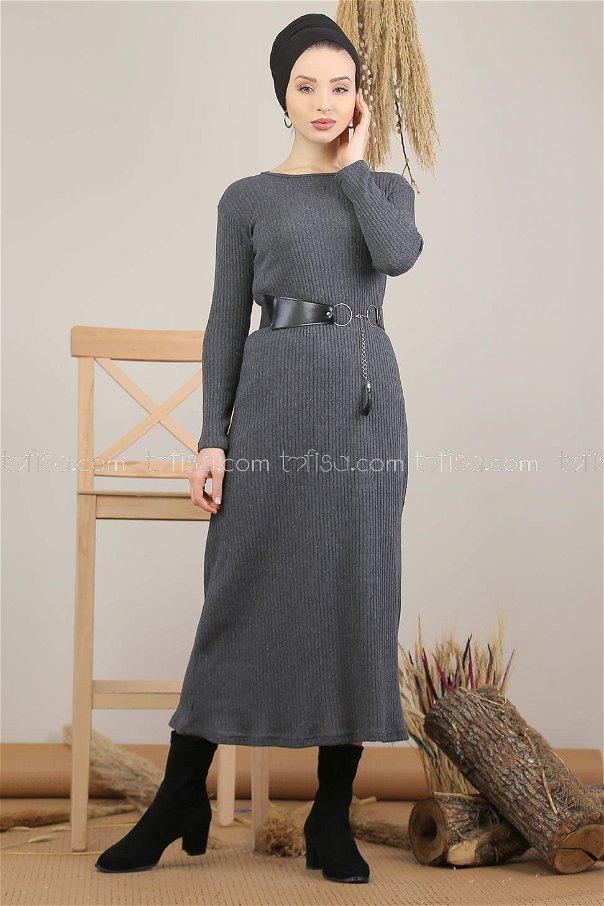 فستان تريكو رصاصي - 5185