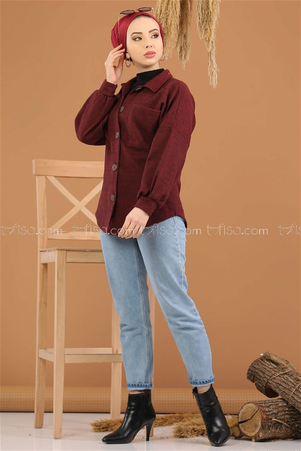 قميص مربعات خمري - 5228
