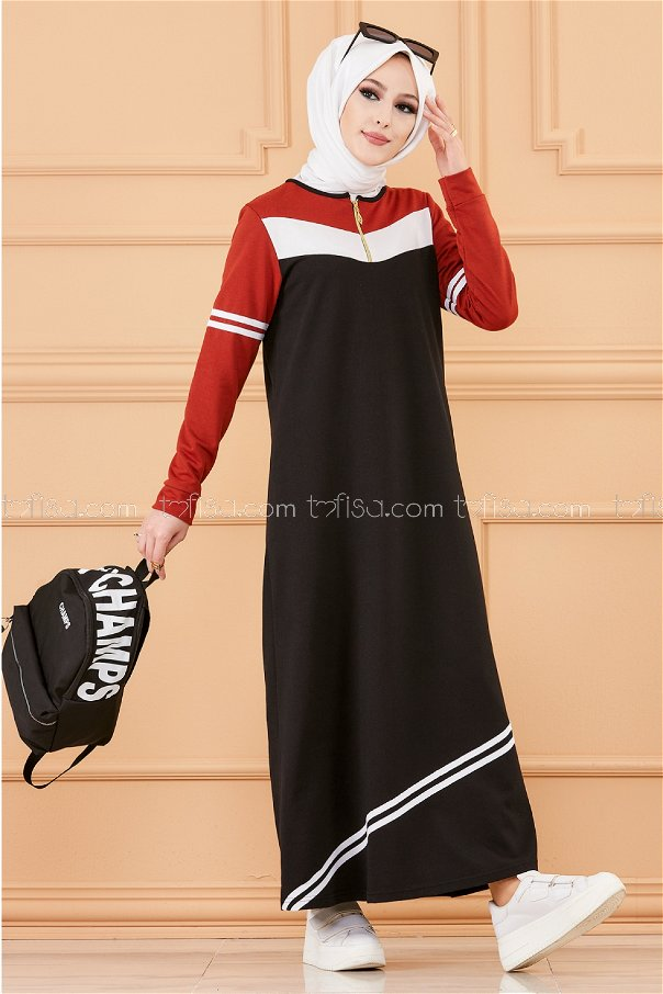 فستان لون قرميد 5249