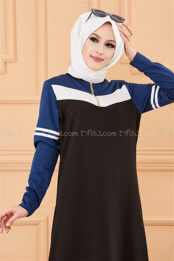 فستان لون ازرق داكن 5249