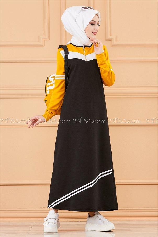 فستان لون خردل 5249