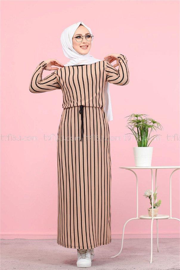 فستان لون بيج 5254
