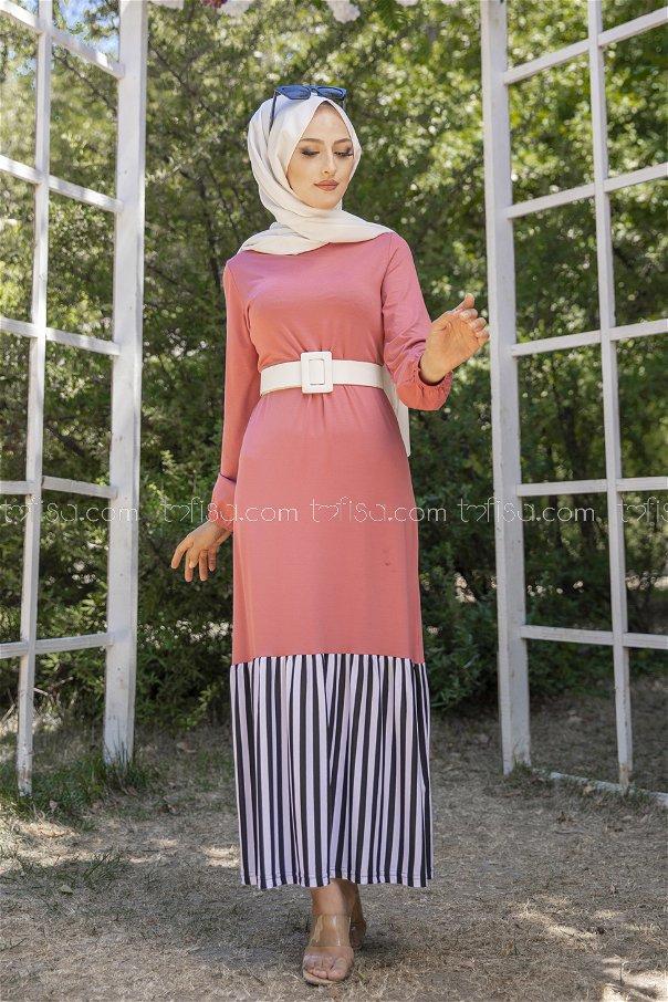 فستان لون وردي 5265