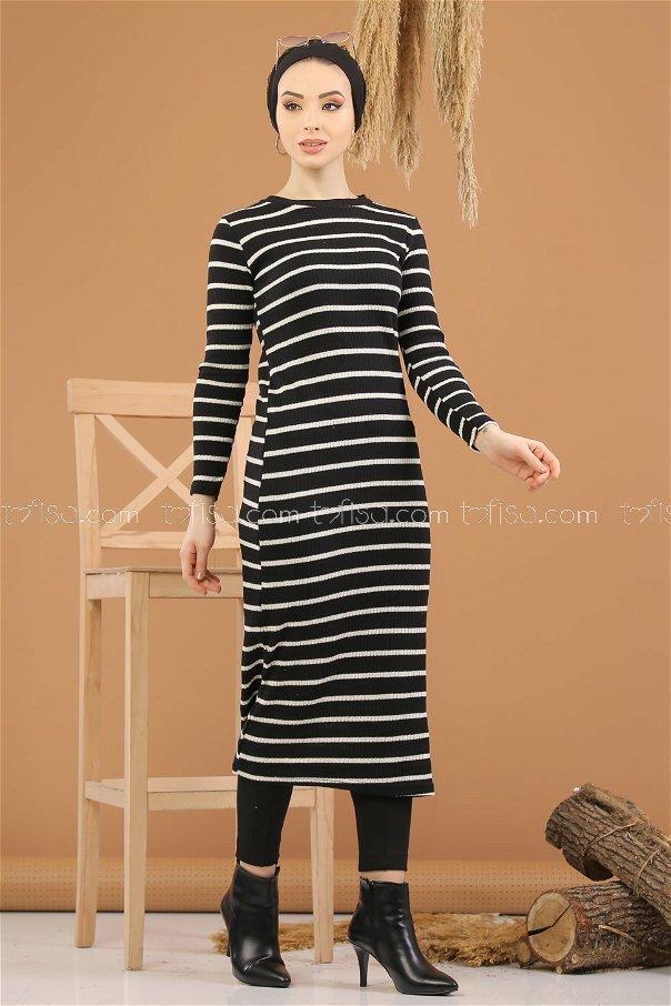 فستان تريكو اسود - 8261