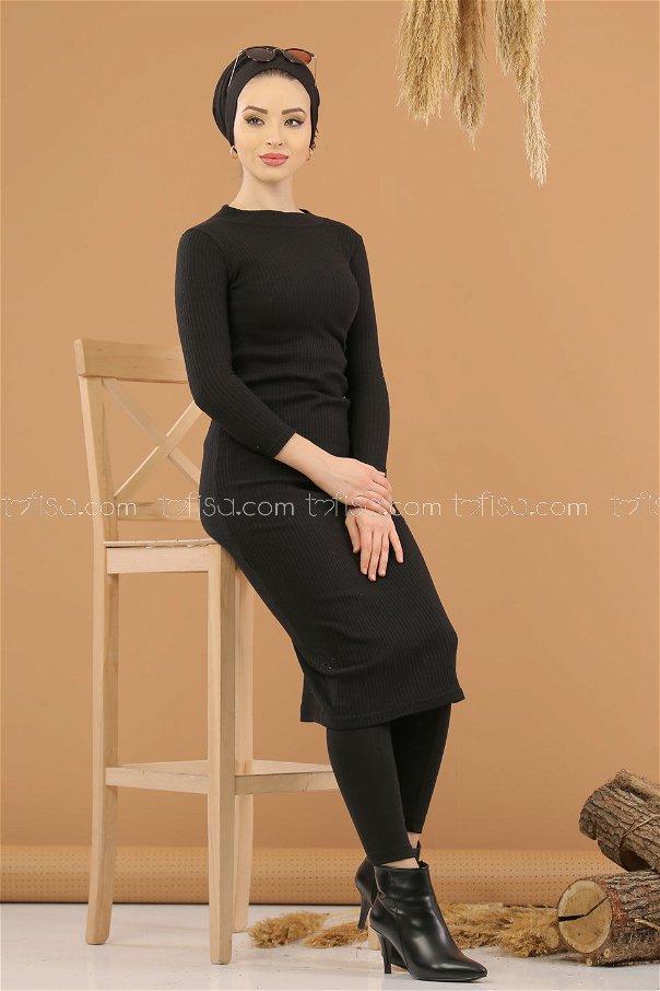 فستان تريكو بياقة عنق اسود - 8262