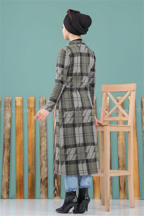 فستان مربعات زيتي - 8291