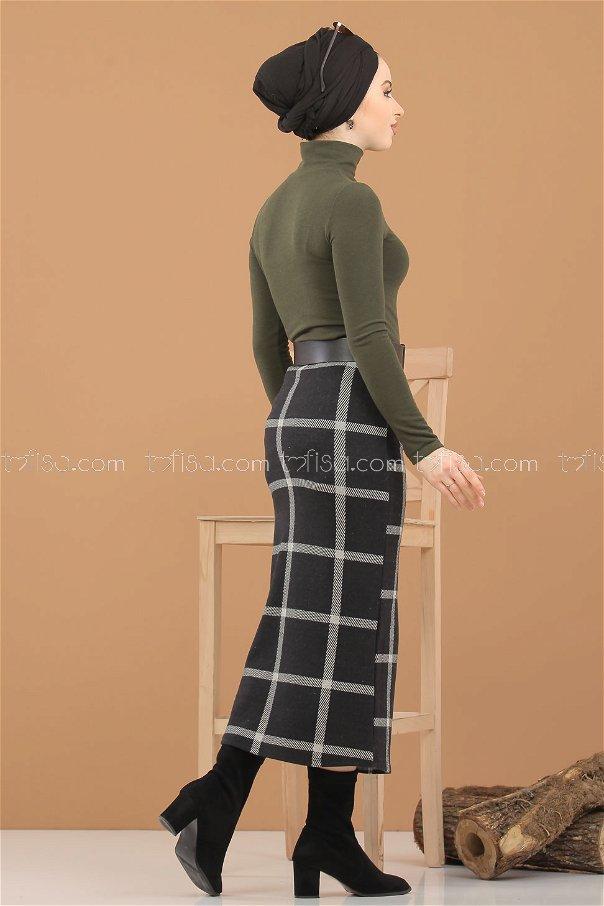طقم قطعتين بلوز تنورة زيتي - 8307