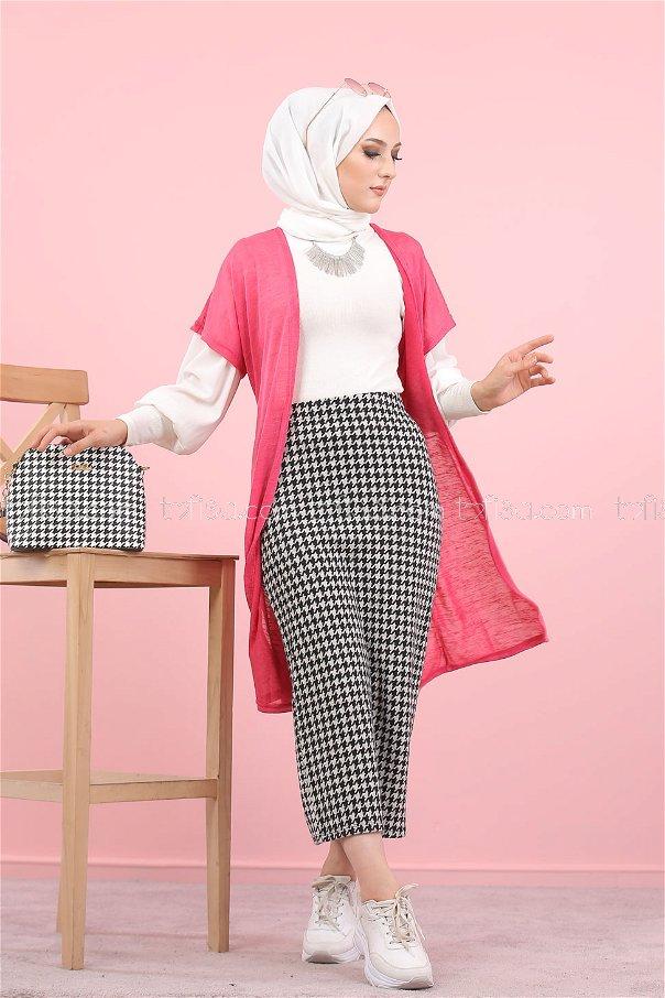 - 8313 2 pieces Vest Skirt Combine Pink