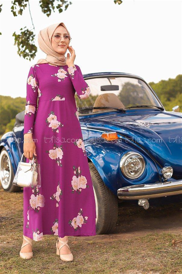 فستان لون موف 8440