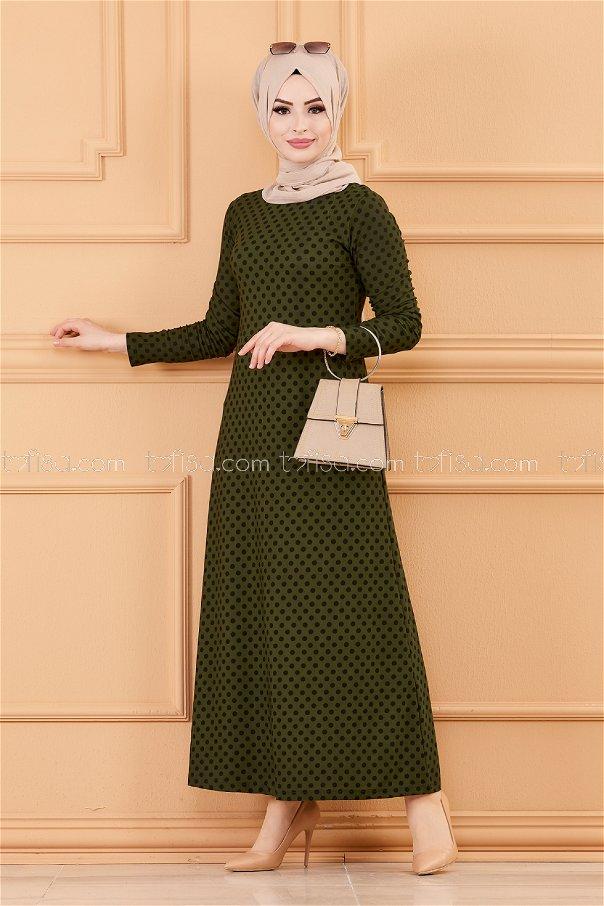 فستان لون زيتي 8453