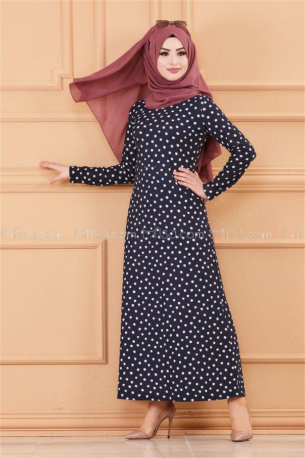 فستان لون كحلي 8453