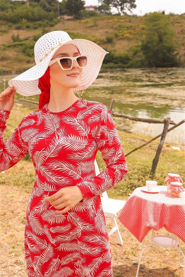 فستان لون احمر 8506