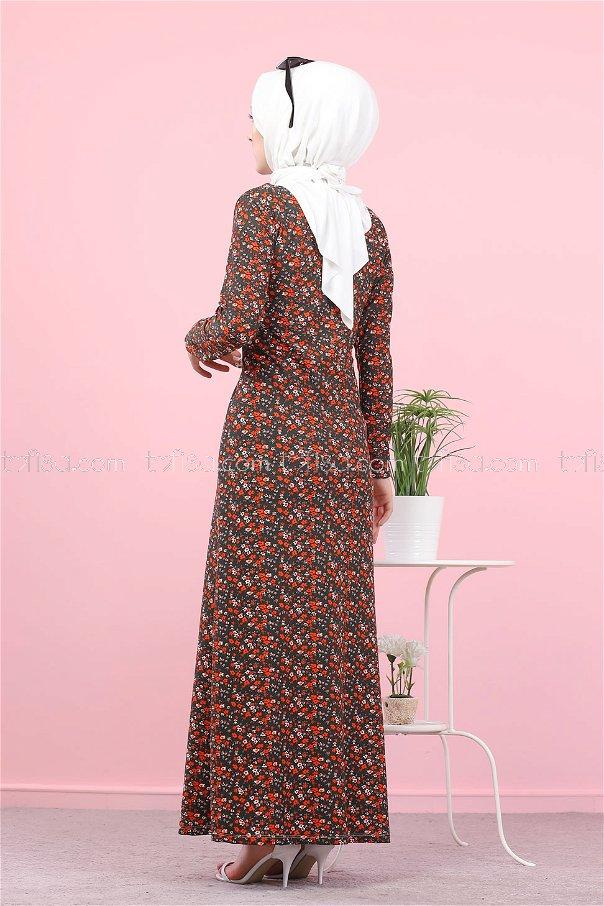 فستان لون زيتي 8516