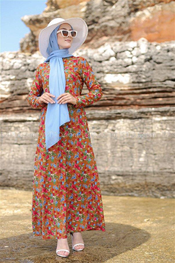 فستان لون بني 8549