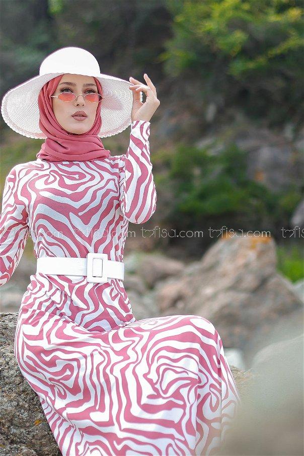 فستان لون وردي 8553