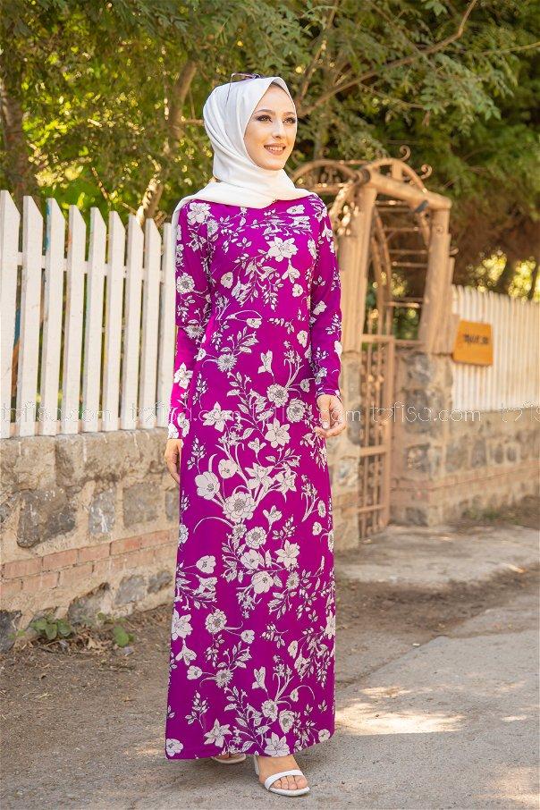 فستان لون موف داكن 8589