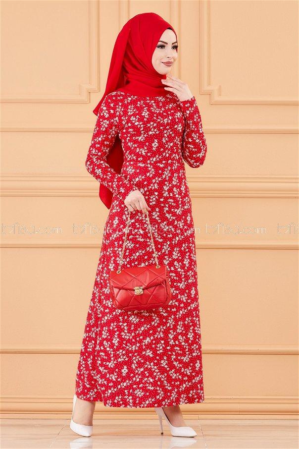 فستان لون احمر 8763