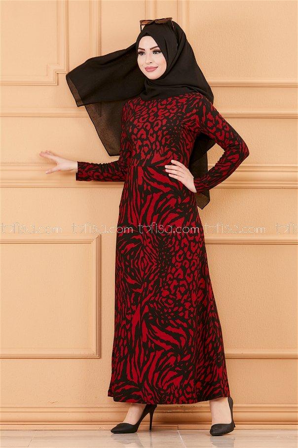 فستان لون خمري 8768