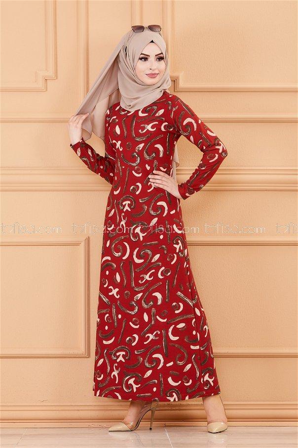 فستان لون قرميد 8783