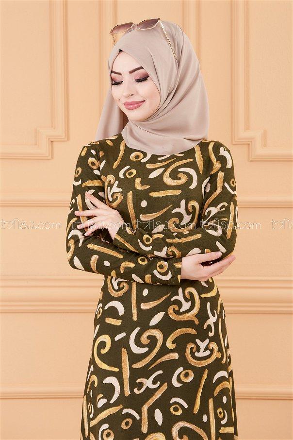 فستان لون زيتي 8784