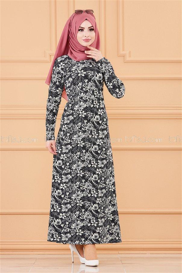 فستان لون اسود 8786