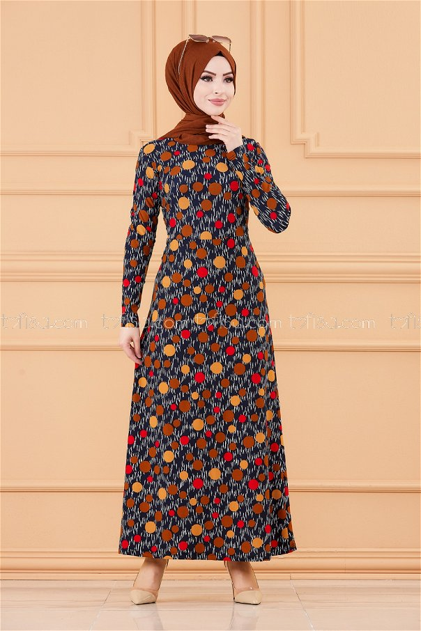 فستان لون بني 8799